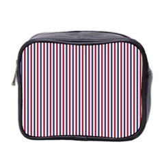 Usa Flag Red And Flag Blue Narrow Thin Stripes  Mini Toiletries Bag 2 Side by PodArtist