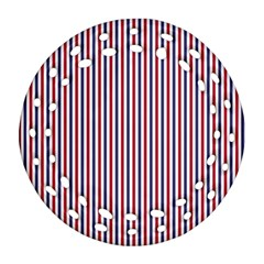 Usa Flag Red And Flag Blue Narrow Thin Stripes  Ornament (round Filigree) by PodArtist