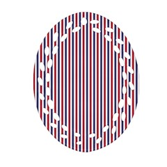 Usa Flag Red And Flag Blue Narrow Thin Stripes  Ornament (oval Filigree)