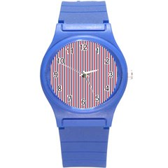 Usa Flag Red And Flag Blue Narrow Thin Stripes  Round Plastic Sport Watch (s) by PodArtist