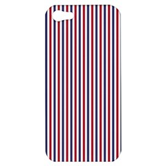 Usa Flag Red And Flag Blue Narrow Thin Stripes  Apple Iphone 5 Hardshell Case by PodArtist
