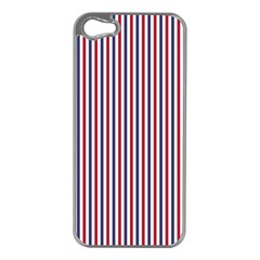 Usa Flag Red And Flag Blue Narrow Thin Stripes  Apple Iphone 5 Case (silver) by PodArtist