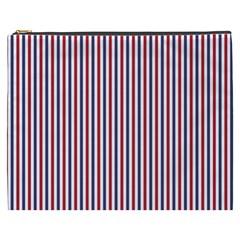 Usa Flag Red And Flag Blue Narrow Thin Stripes  Cosmetic Bag (xxxl)  by PodArtist