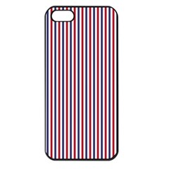 Usa Flag Red And Flag Blue Narrow Thin Stripes  Apple Iphone 5 Seamless Case (black) by PodArtist