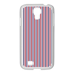 Usa Flag Red And Flag Blue Narrow Thin Stripes  Samsung Galaxy S4 I9500/ I9505 Case (white) by PodArtist