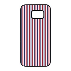 Usa Flag Red And Flag Blue Narrow Thin Stripes  Samsung Galaxy S7 Edge Black Seamless Case by PodArtist
