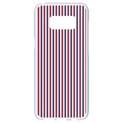 Usa Flag Red And Flag Blue Narrow Thin Stripes  Samsung Galaxy S8 White Seamless Case by PodArtist