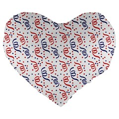 Red White And Blue Usa/uk/france Colored Party Streamers Large 19  Premium Flano Heart Shape Cushions by PodArtist