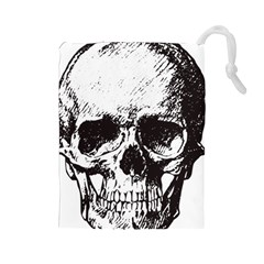 Skull Vintage Old Horror Macabre Drawstring Pouches (large)