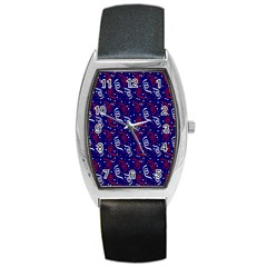 Red White And Blue Usa/uk/france Colored Party Streamers On Blue Barrel Style Metal Watch by PodArtist