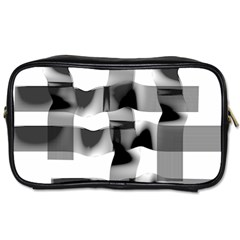 Geometry Square Black And White Toiletries Bags 2 Side by Sapixe