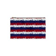244776512ny Usa Skyline In Red White & Blue Stripes Nyc New York Manhattan Skyline Silhouette Cosmetic Bag (small)  by PodArtist