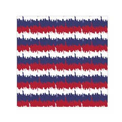 244776512ny Usa Skyline In Red White & Blue Stripes Nyc New York Manhattan Skyline Silhouette Small Satin Scarf (square) by PodArtist