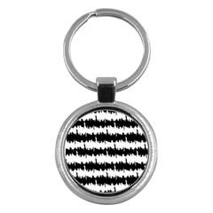 Black & White Stripes Nyc New York Manhattan Skyline Silhouette Key Chains (round)  by PodArtist