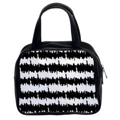 Black & White Stripes Nyc New York Manhattan Skyline Silhouette Classic Handbags (2 Sides) by PodArtist
