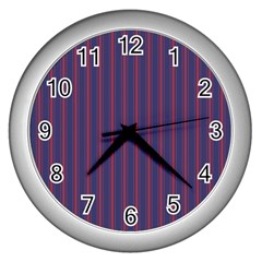 Mattress Ticking Wide Striped Pattern In Usa Flag Blue And Red Wall Clocks (silver)