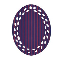 Mattress Ticking Wide Striped Pattern In Usa Flag Blue And Red Ornament (oval Filigree) by PodArtist