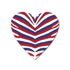 Us United States Red White And Blue American Zebra Strip Heart Magnet by PodArtist