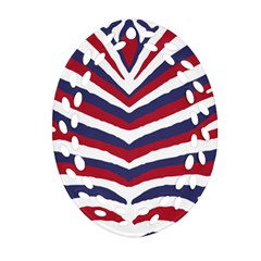 Us United States Red White And Blue American Zebra Strip Ornament (oval Filigree) by PodArtist
