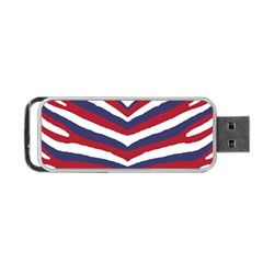 Us United States Red White And Blue American Zebra Strip Portable Usb Flash (one Side) by PodArtist