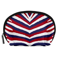 Us United States Red White And Blue American Zebra Strip Accessory Pouches (large)  by PodArtist