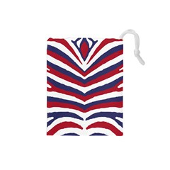 Us United States Red White And Blue American Zebra Strip Drawstring Pouches (small)  by PodArtist