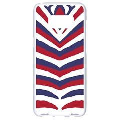 Us United States Red White And Blue American Zebra Strip Samsung Galaxy S8 White Seamless Case by PodArtist
