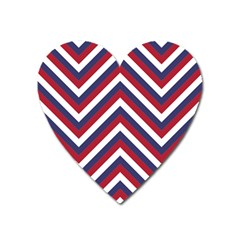 United States Red White And Blue American Jumbo Chevron Stripes Heart Magnet by PodArtist