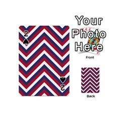 United States Red White And Blue American Jumbo Chevron Stripes Playing Cards 54 (mini)  by PodArtist