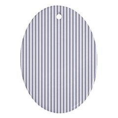 Mattress Ticking Narrow Striped Pattern In Usa Flag Blue And White Ornament (oval)