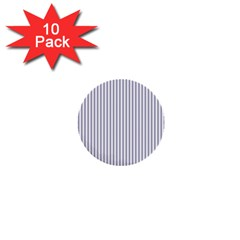 Mattress Ticking Narrow Striped Pattern In Usa Flag Blue And White 1  Mini Buttons (10 Pack)  by PodArtist
