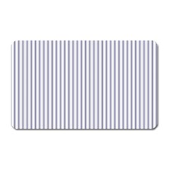 Mattress Ticking Narrow Striped Pattern In Usa Flag Blue And White Magnet (rectangular) by PodArtist