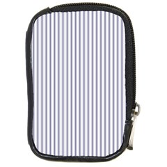 Mattress Ticking Narrow Striped Pattern In Usa Flag Blue And White Compact Camera Cases by PodArtist