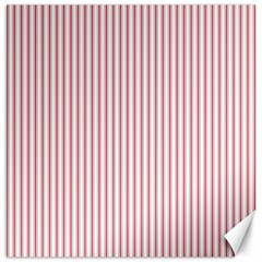 Mattress Ticking Narrow Striped Usa Flag Red And White Canvas 12  X 12   by PodArtist