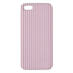 Mattress Ticking Narrow Striped Usa Flag Red And White Apple Iphone 5 Premium Hardshell Case by PodArtist