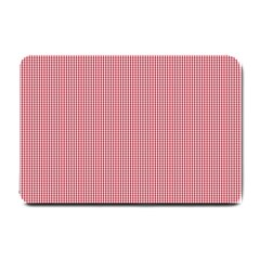 Usa Flag Red Blood Mini Gingham Check Small Doormat  by PodArtist