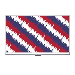 Ny Usa Candy Cane Skyline In Red White & Blue Business Card Holders by PodArtist