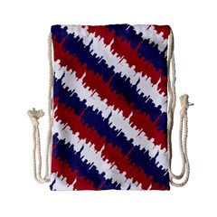 Ny Usa Candy Cane Skyline In Red White & Blue Drawstring Bag (small) by PodArtist