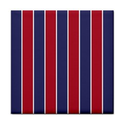 Large Red White And Blue Usa Memorial Day Holiday Vertical Cabana Stripes Tile Coasters