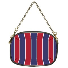 Large Red White And Blue Usa Memorial Day Holiday Vertical Cabana Stripes Chain Purses (one Side)
