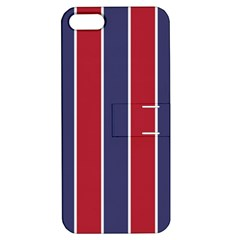 Large Red White And Blue Usa Memorial Day Holiday Vertical Cabana Stripes Apple Iphone 5 Hardshell Case With Stand by PodArtist