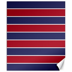 Large Red White And Blue Usa Memorial Day Holiday Horizontal Cabana Stripes Canvas 8  X 10  by PodArtist