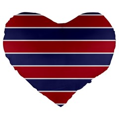 Large Red White And Blue Usa Memorial Day Holiday Horizontal Cabana Stripes Large 19  Premium Flano Heart Shape Cushions by PodArtist