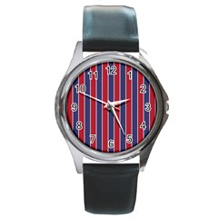 Large Red White And Blue Usa Memorial Day Holiday Pinstripe Round Metal Watch