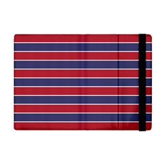 Large Red White And Blue Usa Memorial Day Holiday Pinstripe Apple Ipad Mini Flip Case by PodArtist