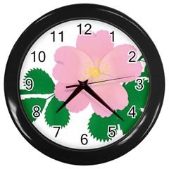 Rose Flower Briar Pink Flowers Wall Clocks (black) by Sapixe