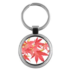 Leaves Maple Branch Autumn Fall Key Chains (round)  by Sapixe
