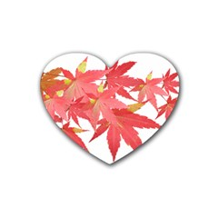Leaves Maple Branch Autumn Fall Heart Coaster (4 Pack)  by Sapixe