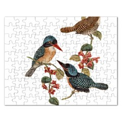 Bird Birds Branch Flowers Vintage Rectangular Jigsaw Puzzl by Sapixe