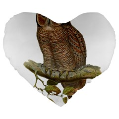 Bird Owl Animal Vintage Isolated Large 19  Premium Flano Heart Shape Cushions by Sapixe